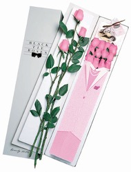 12 Pink Elegant Lady Roses w Free Chocolate Cherries From Black Tie Valet of Beverly Hills, CA